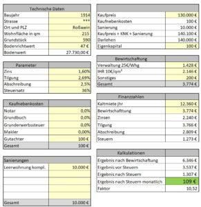 Kalkulation Mehrfamilienhaus MFH2