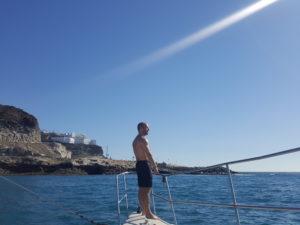 Alex auf Katamaran in Gran Canaria