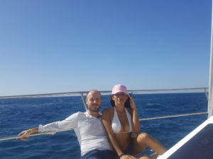 Alex und Sara auf Katamaran in Gran Canaria