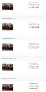 Sharoo Buchungen meines Porsches im Februar 2019