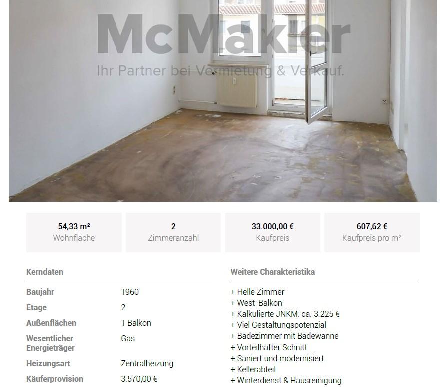 Chemnitz pauschale Makler-Provision