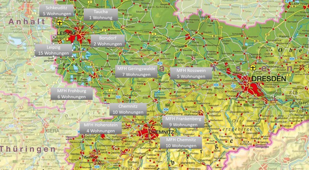 Karte mit meinen Wohnungen